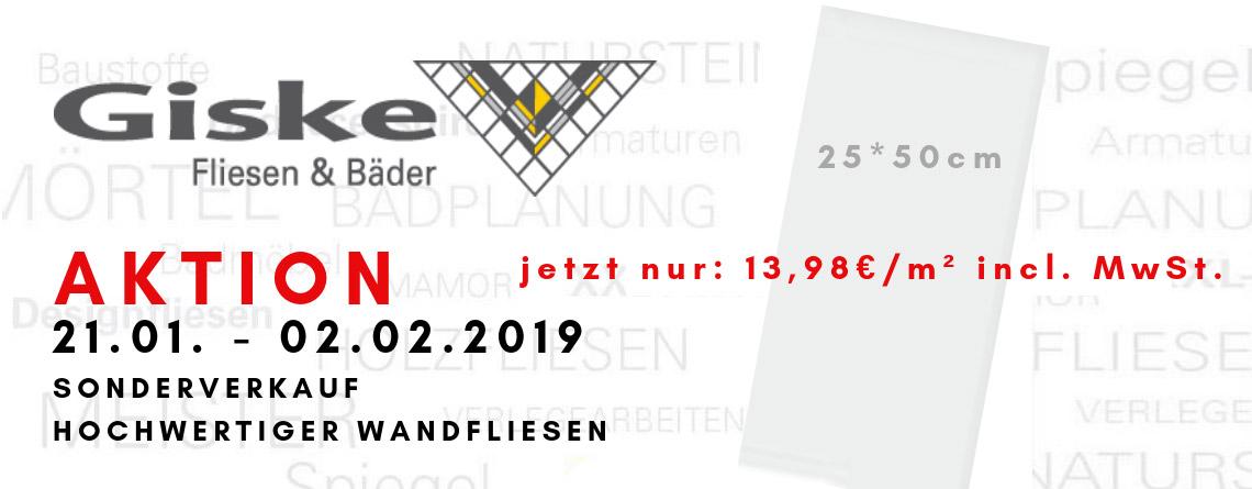 Sonderverkauf Hochwertiger Wandfliesen - 02.02.2019